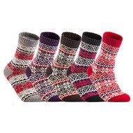 Lian LifeStyle Women's 5 Pairs Warm Casual Wool Crew Winter Socks Multiple Patterns Size 6-10