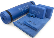 "Sivan Health and Fitness Yoga Set 6-Piece- Includes 1/2"" Ultra Thick NBR Exercise Mat, 2 Yoga Blocks, 1 Yoga Mat Towel, 1 Yoga Hand Towel and a Yoga Strap (Blue)"