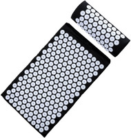 Sivan Health and Fitness Health and Fitness®Acupressure Mat and Pillow Set for Lower, Upper, Mid, Chronic Back Pain Treatment, Pillow, Therapy, Reliever - Relieve Your Stress, Back, Neck, and Sciatic Pain(Black)