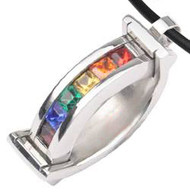 Rainbow CZ Double Curved Bounce Pendant - Gay & Lesbian LGBT Pride Steel Necklace