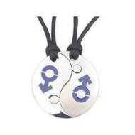 2pc Set - Break Apart Double Male Mars (BLUE) Yin Yang Pendants -  LGBT Gay Pride Jewelry Set Necklaces