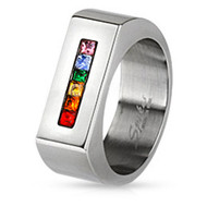 A Rainbow String Wide Flat Top Ring - LGBT Gay and Lesbian Pride