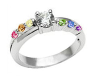 Female Lesbian Love Step CZ Wedding Band Engagement Ring (LGBT Pride)
