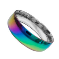 Smooth Flat Anodized Rainbow Ring - Gay and Lesbian LGBT Pride Jewelry