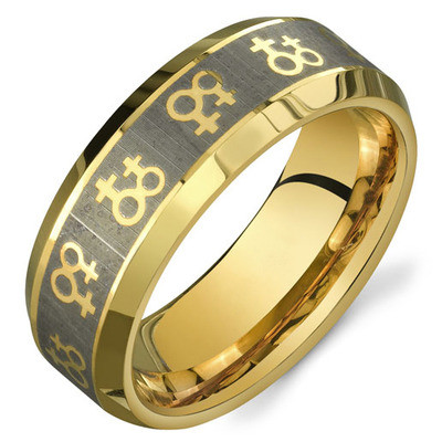 Gold female symbols lesbian wedding ring band promise ring for Lesbian ring finger wedding rings