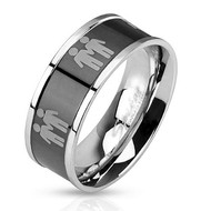 Double Gay Male Symbols on Steel Black IP Ring - Gay Pride Promise Ring or Wedding Band