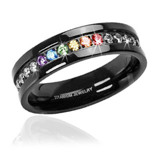 Jet Black Titanium Full Clear & Rainbow String - Lesbian & Gay Engagment Wedding Ring