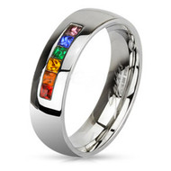 Rainbow String Smooth Round Top Ring - Lesbian and Gay Wedding Ring Marriage