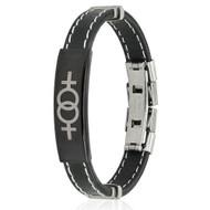 Double Female Symbol Steel Plate Stitch Accent Black Rubber Wristlet - LGBT Lesbian Pride Bracelets