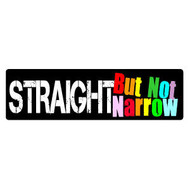 Straight But Not Narrow - 3x10 Rainbow Pride LGBT Ally Gay & Lesbian Supporter Sticker