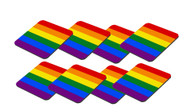 8 Pack - Rainbow Gay Pride Flag Beverage Coasters - LGBT Pride Home Decor and Party Supplies