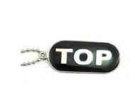 """""""Top"""" Comical Gay Pride Black Dog Tag Necklace - LGBT Men's Gay Pride Jewelry"""