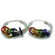 LGBT Pride Rainbow Ceramic Loop Hoop Earrings - LGBT Gay and Lesbian Pride Jewelry