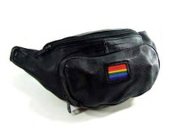 Black Leather Fanny pack (Rainbow Square Flag) - Gay Pride - LGBT Lesbian Pride Gifts