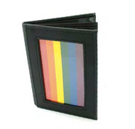 Black Leather 4x6 Photo Album with Gay Pride Rainbow Flag - LGBT Lesbian and Gay Pride Gifts and Merchandise