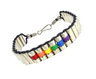 Upscale Rainbow Steel Beaded Bracelet - LGBT Gay and Lesbian Pride Jewelry