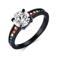 Dreamy Black Main Gem Rainbow Ring - Lesbian Ring Pride Engagement Wedding Ring