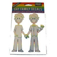 Gay Male Couple Holding Hands Family Pride Car Window Sticker / Gay Pride Vehicle Decals - Rainbow Pride