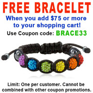 FREE with $75 or more! Coupon Code: BRACE33 - Get (1) Shamballa Rainbow Adjustable Black Wristlet - Gay and Lesbian LGBT Pride Bracelet
