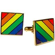 Gold Color Gay Pride Rainbow Cufflinks - LGBT Gay & Lesbian Pride Apparel & Accessories