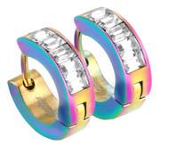 Rainbow and CZ stones - Surgical Steel Hoop Huggie Gay and Lesbian Pride Earrings