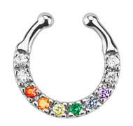 Gay and Lesbian Pride Smooth Flat Paved CZ Non-Piercing (Clip on style) Septum Hanger for Nose - LGBT Jewelry / Pride (Nose Ring/Body Jewelry)