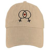 Tan Baseball Cap with Double Venus Lesbian Female Symbols and Mini Heart - LGBT Lesbian Pride Hat. Lesbian Pride Clothing & Apparel