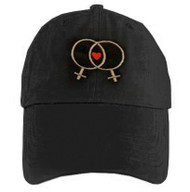 Black Baseball Cap with Double Venus Lesbian Female Symbols and Mini Heart - LGBT Lesbian Pride Hat. Lesbian Pride Clothing & Apparel