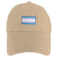 Tan Baseball Cap with LGBT Transgender Flag - LGBT Trans Pride Hat. LGBT Gay and Lesbian Pride Clothing & Apparel