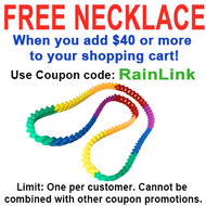 "FREE Rainbow Silicone Soft Link Necklace 34"" Long - Gay & Lesbian Pride. FREE Rainbow Silicone Chain Necklace with $40 or more added to cart - Use coupon code: RAINLINK - Limit One per Customer."