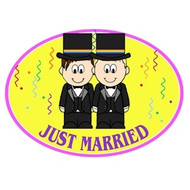 Gay Male Grooms - Yellow Just Married Magnet - LGBT Gay Pride Car Decal