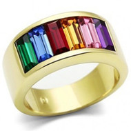 Gold Beauty Rainbow CZ Ring - Lesbian & Gay Pride Gold IP Plated Ring w/ CZ Stones