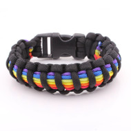 Black and Rainbow Flag Snap Clasp Paracord Bracelet - Gay Pride Bracelet - LGBT Lesbian Pride Wristband