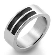 LGBT Equality Dash Ring - Gay & Lesbian Pride Stainless Steel Ring Carbon Fiber Equality Symbol