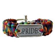 Braided Rainbow Pride Plate Paracord Bracelet - Gay Pride Bracelet - LGBT Lesbian Pride Wristband