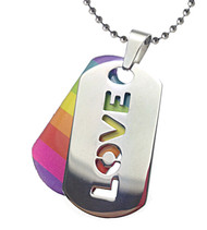 2pc. Love Rainbow Dog Tag - LGBT Gay and Lesbian Pride Necklace