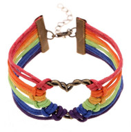 Gay and Lesbian Rainbow Infinity Heart Streamer Bracelet. (Leather Braided Rainbow) LGBT Merchandise - Jewelry and Accessories