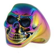 Anodized Rainbow Skull Ring with Smiling Skeleton Face - Biker, Gothic, Punk, Rocker, Gay and Lesbian LGBT Pride Jewelry