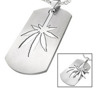 Marijuana Symbol - 2pc Stainless Steel Sectional Dog Tag Style Steel Pendant - 420 Pot Leaf / Hemp Pride Necklace w/ Chain