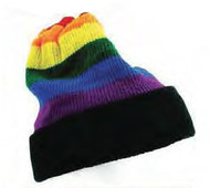 Rainbow Black Brim Winter Cap - LGBT Gay and Lesbian Pride Hat. Gay and Lesbian Pride Clothing & Apparel