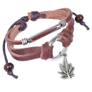 Marijuana Pot Leaf Leather & Copper Knotted Dangle Bracelet (420 / Hemp Pride)