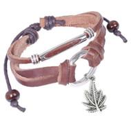 Marijuana Pot Leaf Leather & Copper Knotted Dangle Bracelet (420 / Hemp Pride) Brown