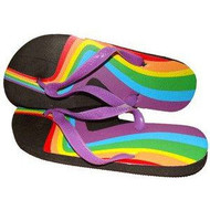 Rainbow Swirl Bottom Heel Flip Flops - Sandals w/ Black Soles - LGBT Gay and Lesbian Pride Clothing