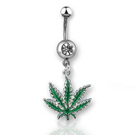 Marijuana Pot Leaf - Navel Ring w/ CZ Stone (Belly / Body Jewelry)