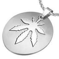 Marijuana Symbol - 2pc Stainless Steel Sectional Oval Steel Pendant - 420 Pot Leaf / Hemp Pride Necklace w/ Chain
