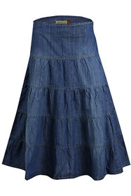 Clove Womens Midi Blue Denim Skirt Five Tier Feminine Charm Sizes 14 - 24