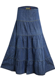 Clove Womens Tall Blue Denim Skirt Five Tier Feminine Chic PlusSizes 14 - 24
