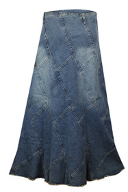 Clove Pleated Long ankel length Denim Skirt Plus Size Online