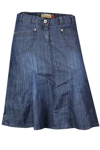 Knee Length A Line Denim Skirt Plus Size