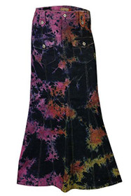 Clove Women Tie-n-Dye Multi-coloured Denim Maxi Skirt Size 12-24